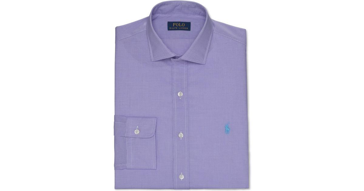Polo ralph lauren purple check dress shirt in purple for for Purple polo uniform shirts