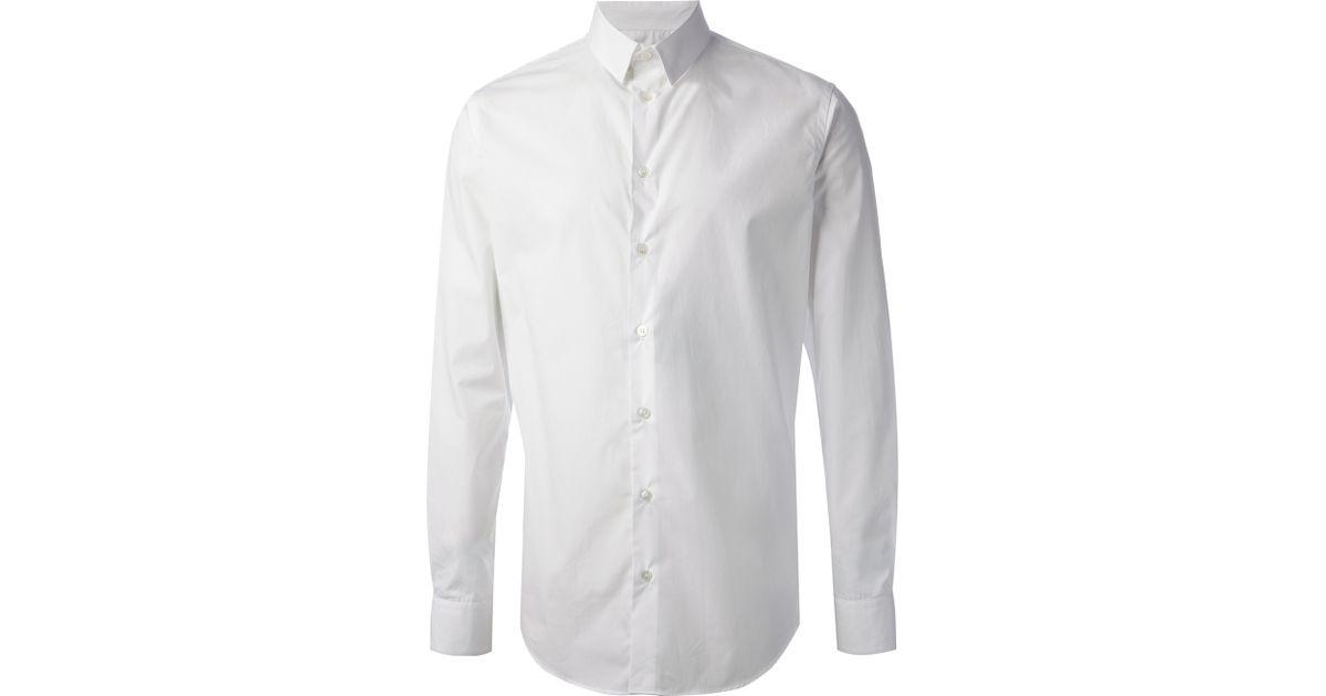 b76524e1064 Giorgio Armani Classic Shirt in White for Men - Lyst