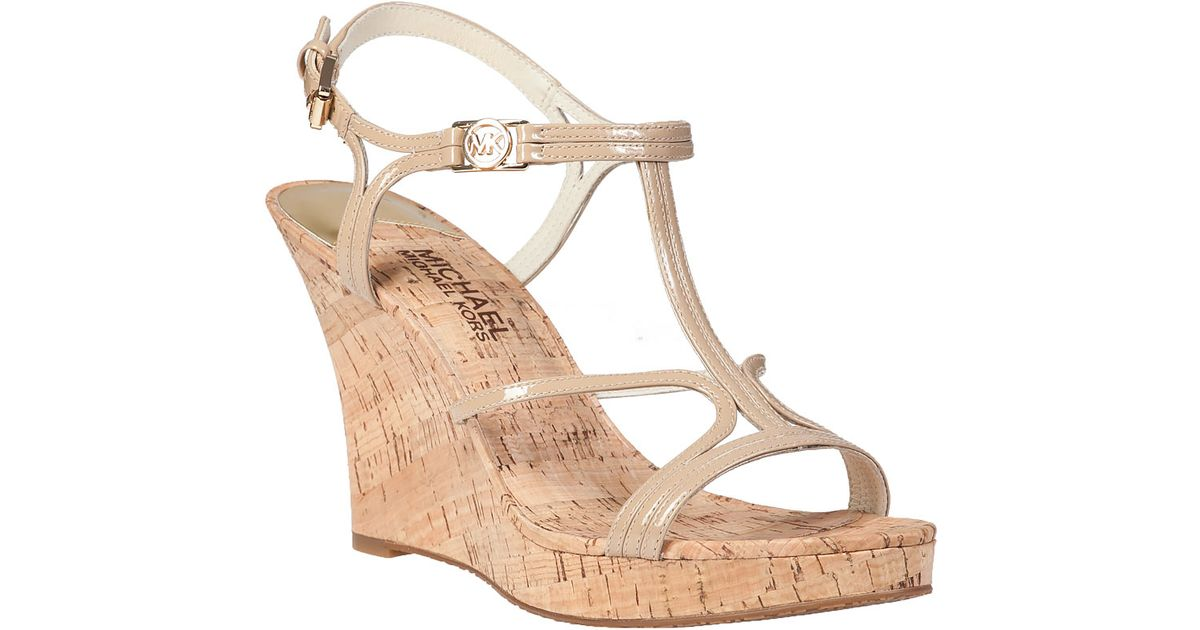 cdaf7a182cbe Lyst - MICHAEL Michael Kors Cicely Wedge Sandal Nude Patent in Natural