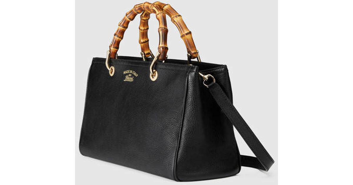 7fd82cf37cd Lyst - Gucci Bamboo Shopper Leather Tote in Black