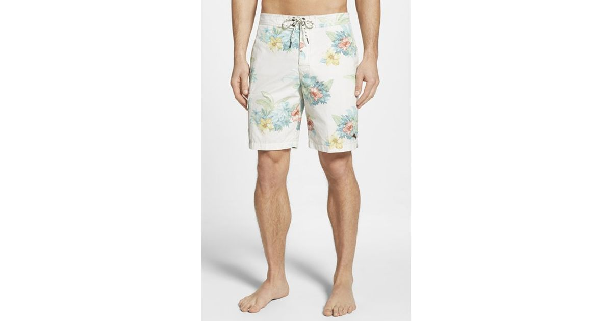 8e7eb914d3 Lyst - Tommy Bahama 'Baja Hibiscus Hukilau' Board Shorts in White for Men