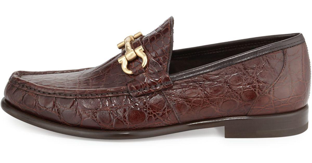 Ferragamo Mason 2 Crocodile Gancini Loafer In Brown For