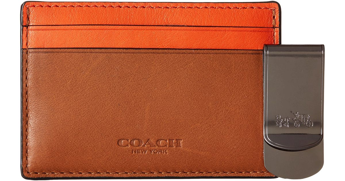 newest 473f4 f8bd6 COACH Brown Id Card Case And Money Clip Set for men