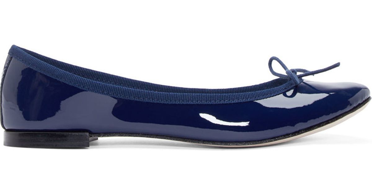 Navy Blue Patent Leather Flat Shoes