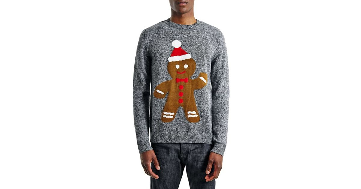 Topman Holiday Gingerbread Man Crewneck Sweater in Gray for Men | Lyst