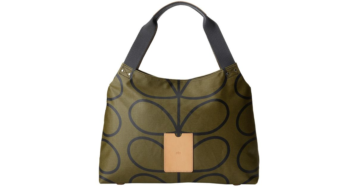 Lyst - Orla Kiely Giant Linear Stem Classic Zip Shoulder Bag in Green 600460be7946a