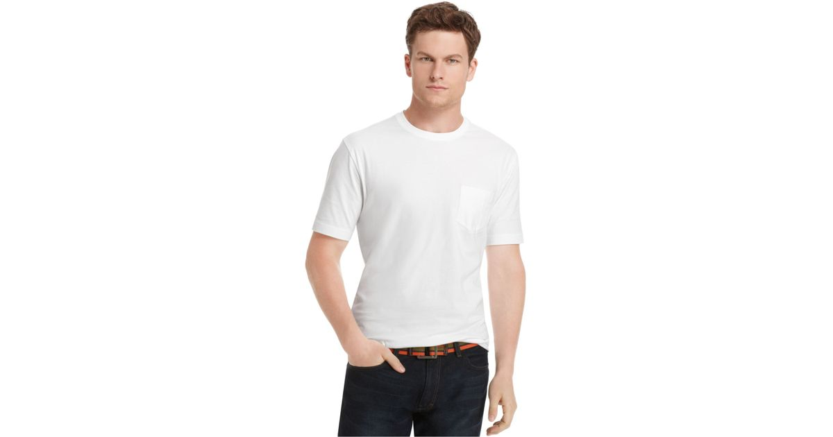 Izod big and tall short sleeve solid pocket t shirt in for Mens big and tall burberry shirts