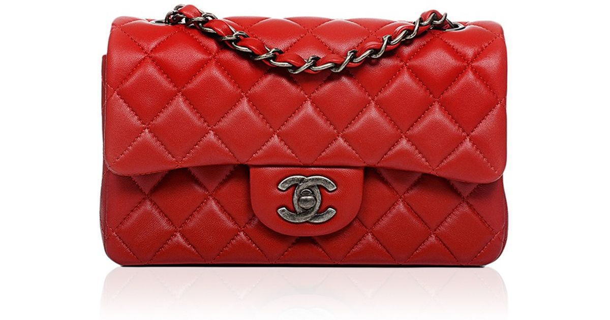 Madison Avenue Couture Chanel Red Quilted Lambskin Small Classic 2 55 Shoulder Flap Bag