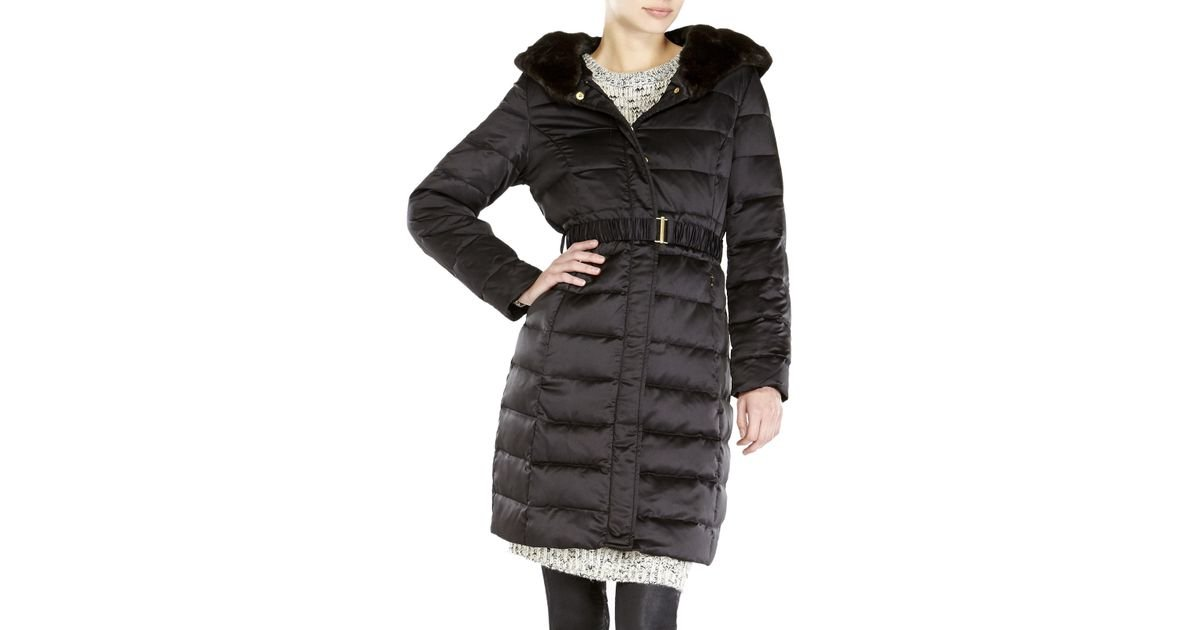 Ellen tracy Petite Faux Fur Trim Hooded Long Down Coat in Black | Lyst