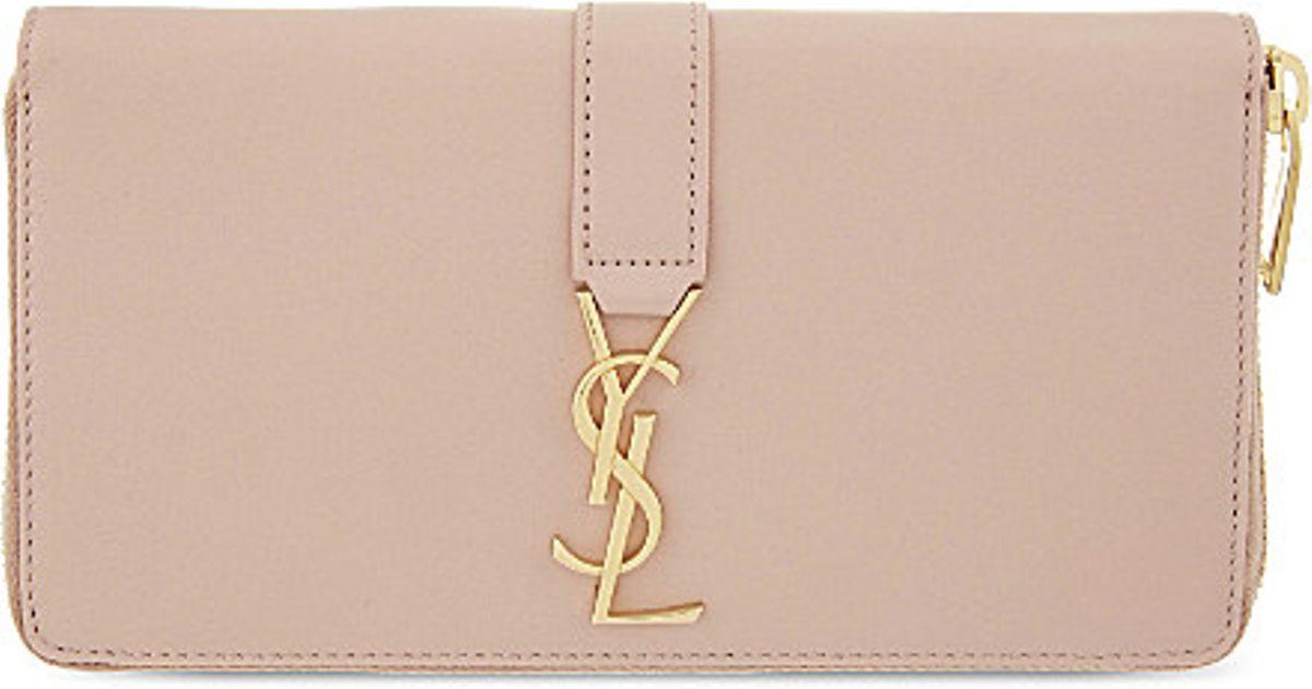ysl uk website - Saint laurent Monogram Leather Zip-around Wallet in Beige (Pale ...