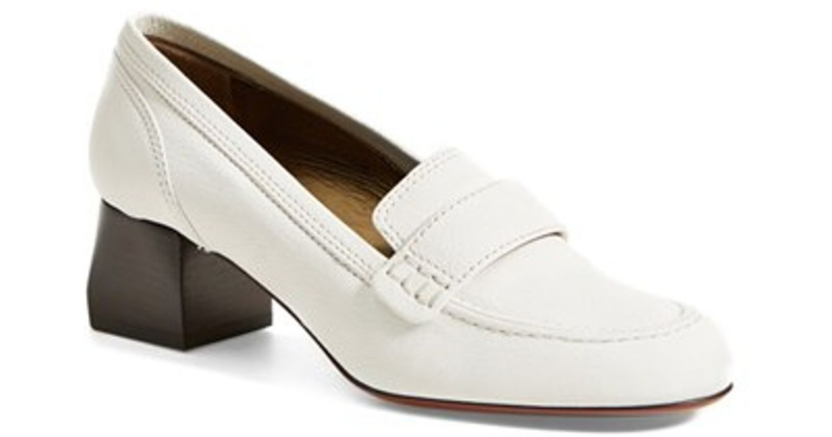 Lanvin Square Heel Loafer in White - Lyst