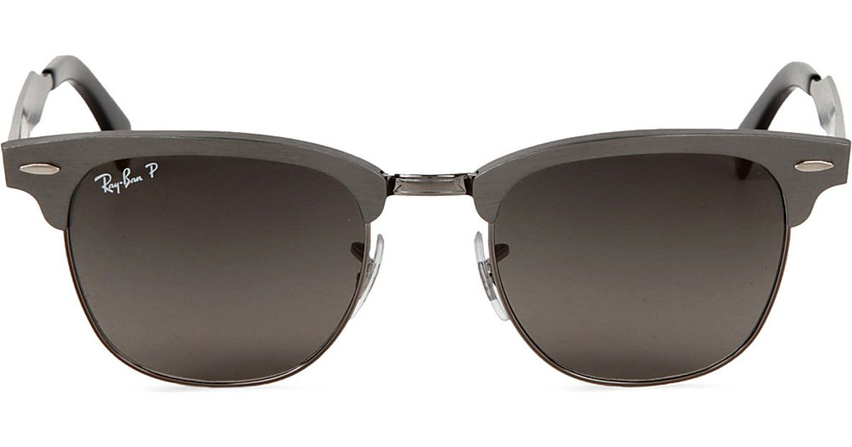744f98b4ec Ray-Ban Clubmaster Aluminium Sunglasses in Brushed Gunmetal with Black  Polarised Lenses 49 in Metallic for Men - Lyst