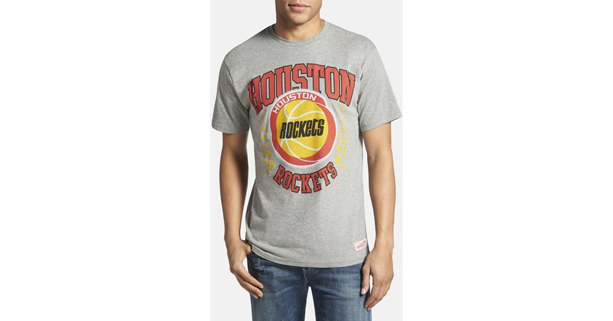 online store 13a60 66153 Mitchell & Ness Gray 'houston Rockets - Shooting Stars' Tailored Fit  Graphic T-shirt for men