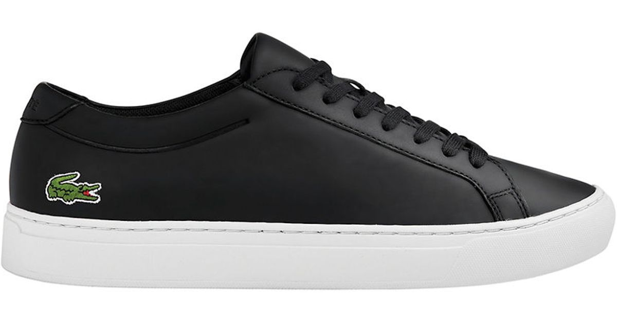 lacoste l 12 12 116 1 leather tennis sneakers in black for