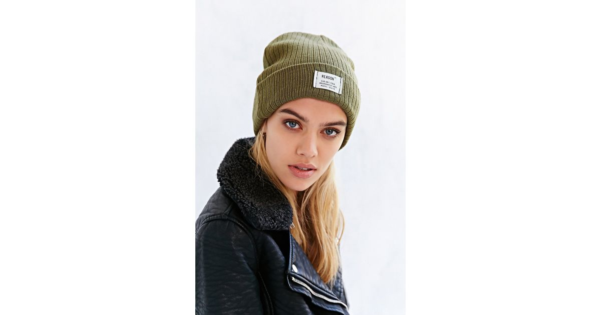 d0caf069685 Reason Patch Ribbed Knit Beanie in Green - Lyst