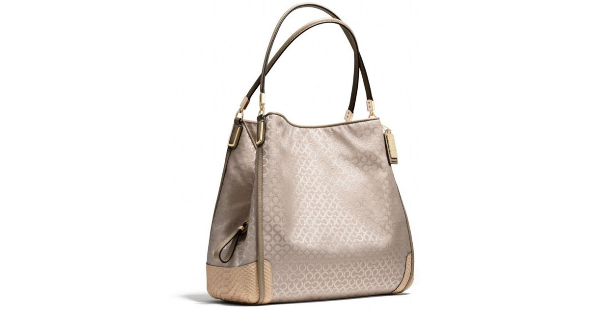 38b422ff29 Lyst - COACH Madison Small Phoebe Shoulder Bag In Op Art Pearlescent Fabric  in Black