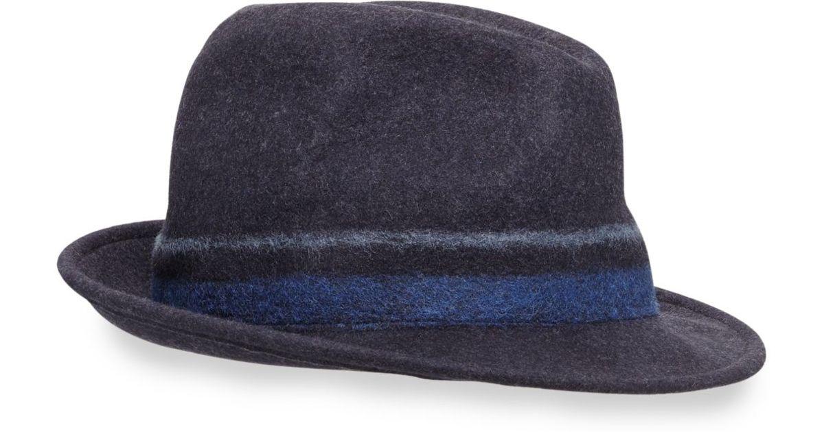 57c359df Paul Smith Punch Stripe Wool Trilby Hat in Blue for Men - Lyst