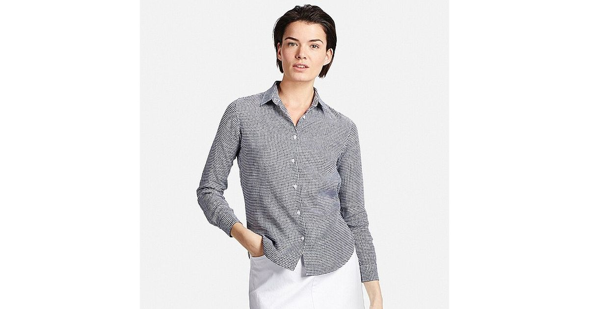 Uniqlo Premium Linen Patterned Long Sleeve Shirt In Gray