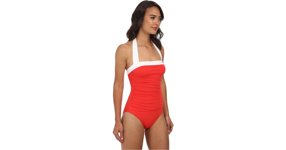a885236b76a Lauren by Ralph Lauren Bel Aire Solids Shirred Bandeau Mio Slimming Fit One- piece in White - Lyst