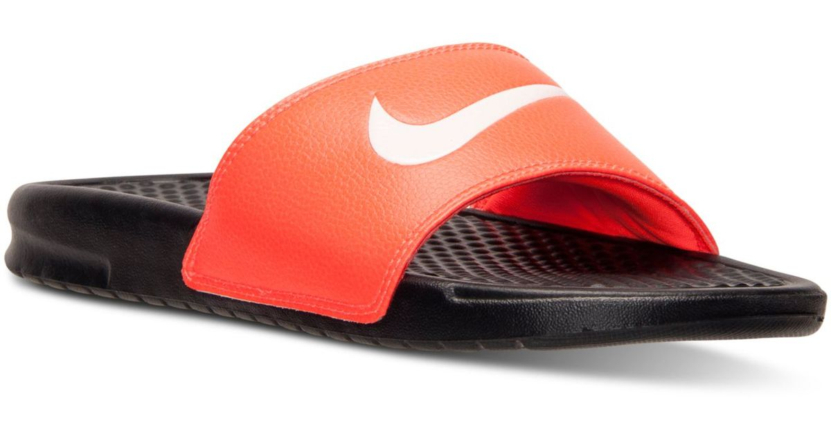ccfadf4c813 ... denmark lyst nike mens benassi swoosh slide sandals from finish line in  red for men f3c80