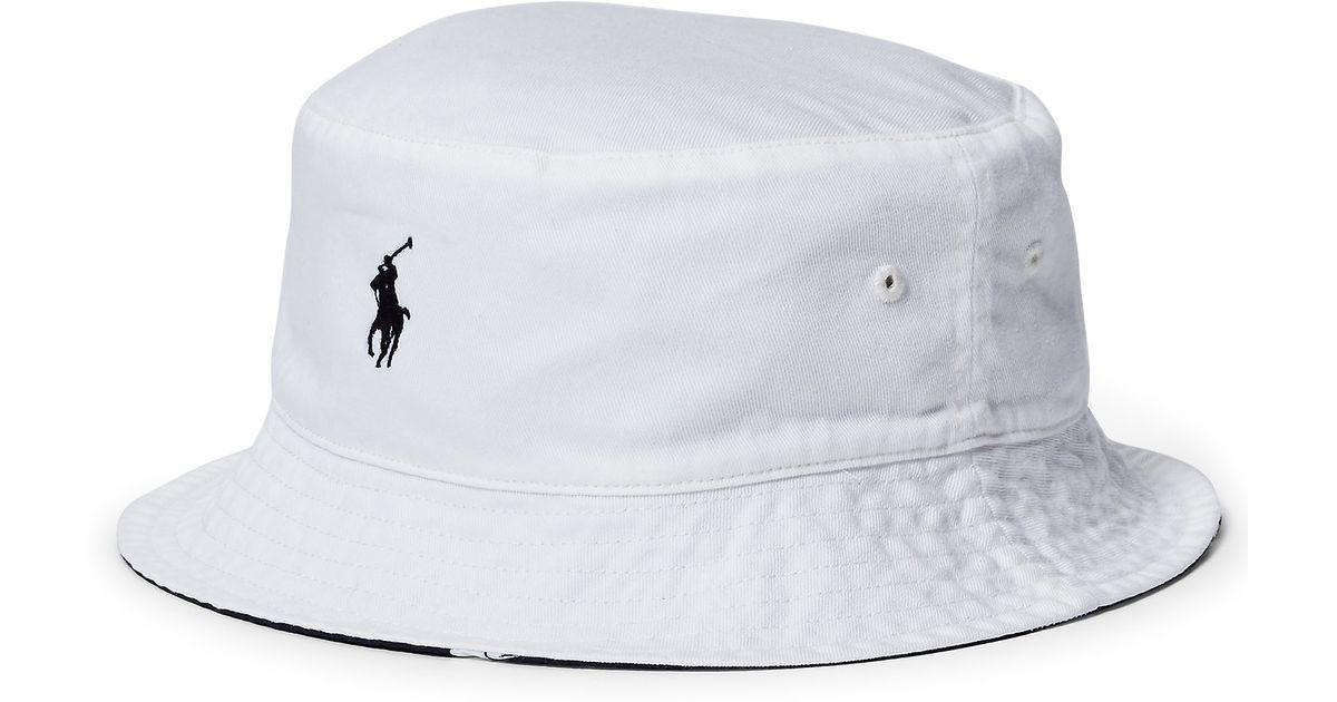 Polo Ralph Lauren Reversible Twill Bucket Hat In White For