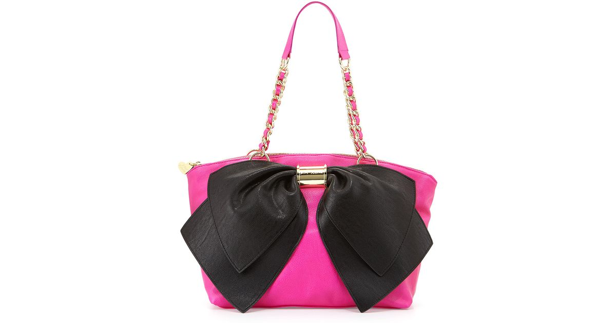 c94ca3a314 Lyst - Betsey Johnson Nanza Twotone Bow Satchel in Pink
