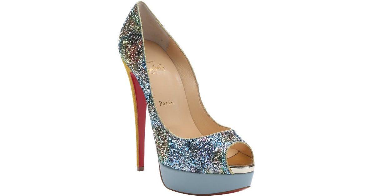 replicas shoes for men - Christian louboutin Lady Peep Glitter Platform Pumps in Blue | Lyst