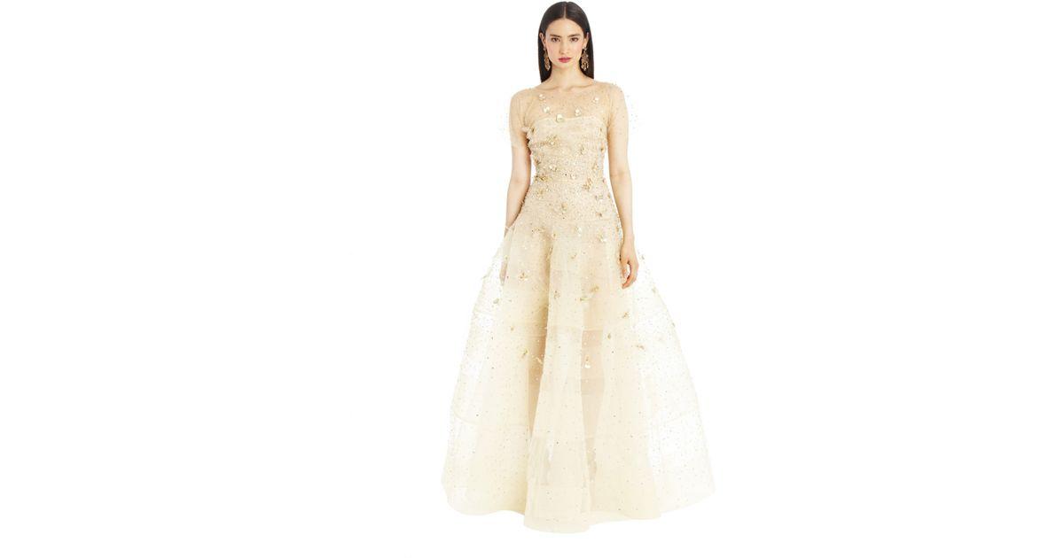 Oscar De La A Metallic Gold Illusion Tulle Embroidered Drop Waist Gown