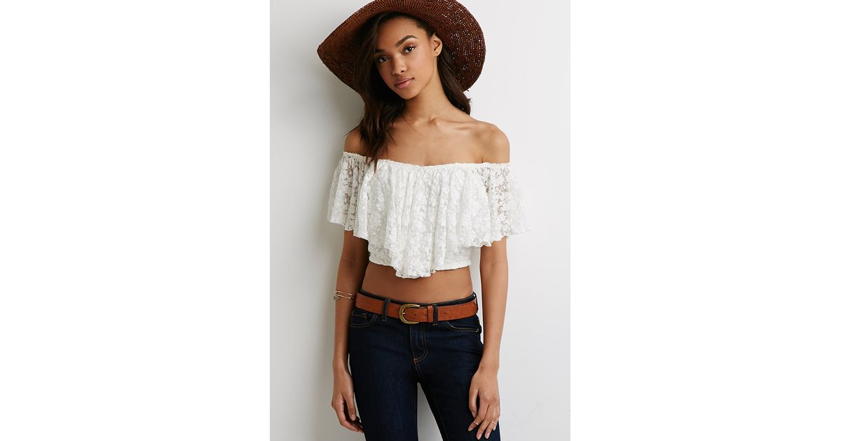 d8f7c147d94c7 Lyst - Forever 21 Off-the-shoulder Lace Crop Top You ve Been Added To The  Waitlist in White