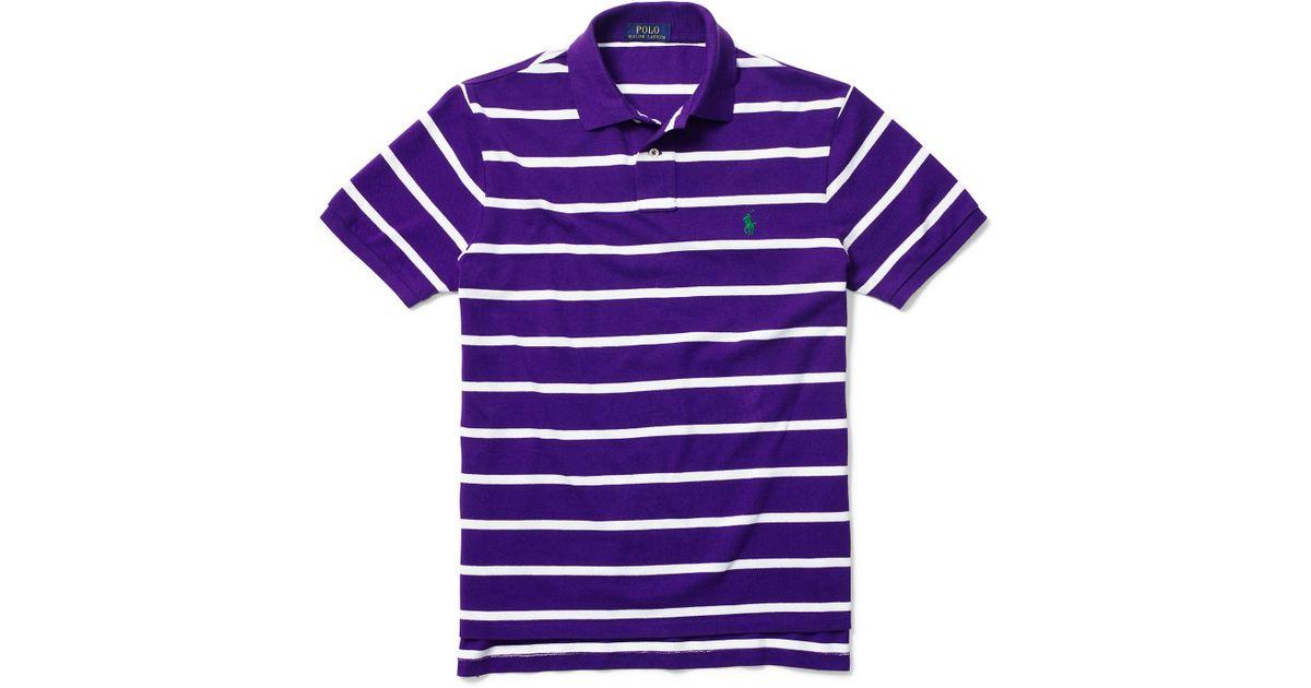 92d8c7b7a Polo Ralph Lauren Custom-fit Striped Mesh Polo in Purple for Men - Lyst