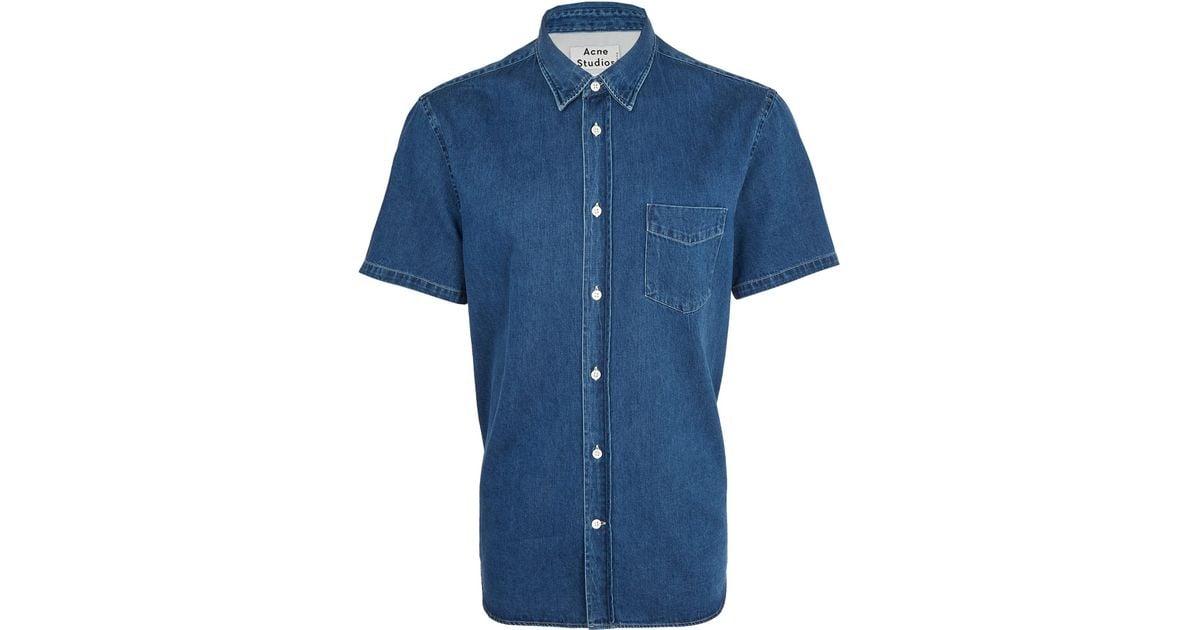 f878ed9b71c Lyst - Acne Studios Blue Isherwood Short Sleeve Denim Shirt in Blue for Men