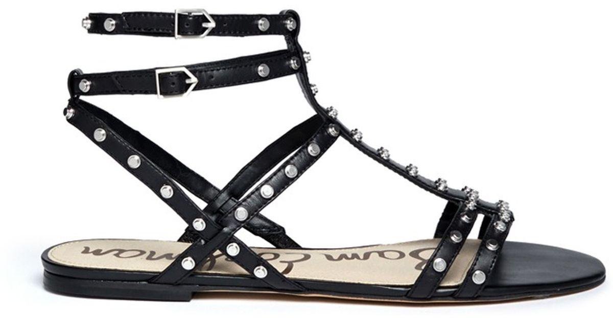 336cf200822c Lyst - Sam Edelman Berkeley Stud Leather Flat Sandals in Black