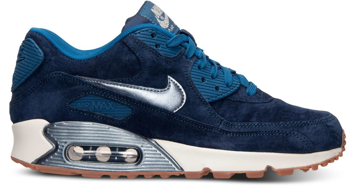 c36ab26abd9d ... netherlands lyst nike womens air max 90 premium suede running sneakers  from finish line in blue
