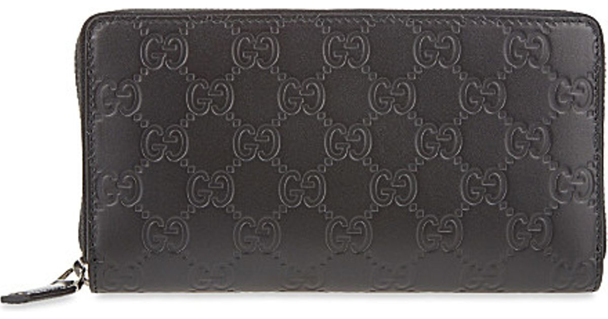 c6a3dc3355f Lyst - Gucci Leather Gg Long Wallet in Black