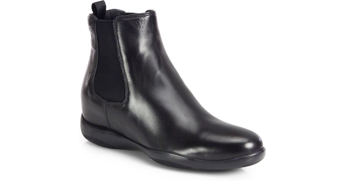Lyst - Prada Leather Chelsea Boots in Black 055ab79a4f53