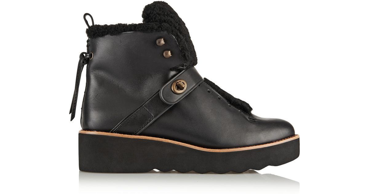 7f660ea0ea3 COACH Black Urban Hiker Shearling-Trimmed Leather Boots