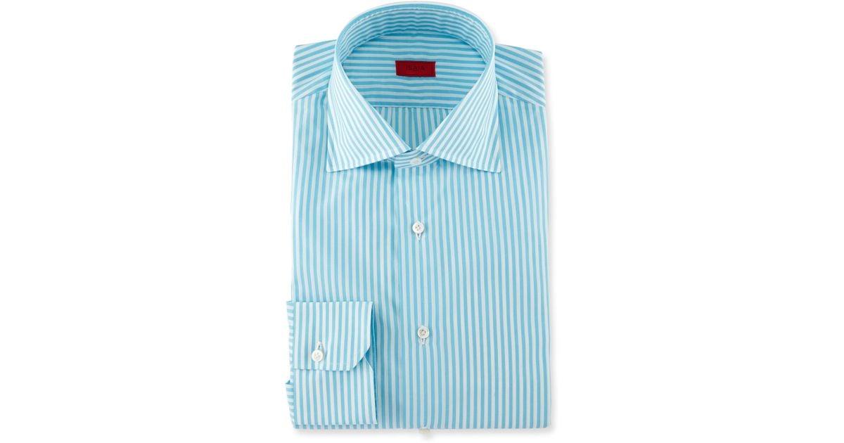 Isaia Bengal Stripe Dress Shirt In Blue For Men Aqua Lyst