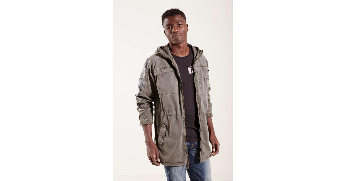 true religion military parka mens jacket in beige for men faded olive. Black Bedroom Furniture Sets. Home Design Ideas
