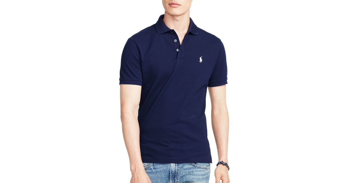 fd64eaf3b318 Lyst - Ralph Lauren Polo Stretch-mesh Slim Fit Polo Shirt in Blue for Men