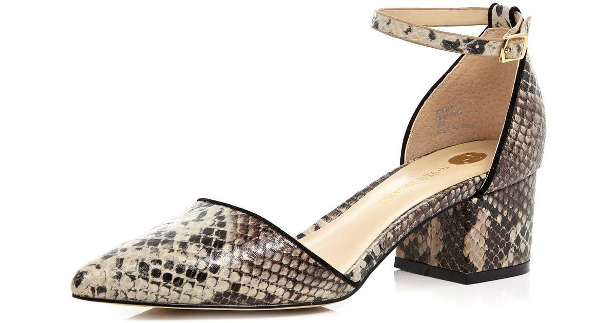 6f6d3d6a7c8 River Island Natural Beige Snake Print Block Heel Shoes