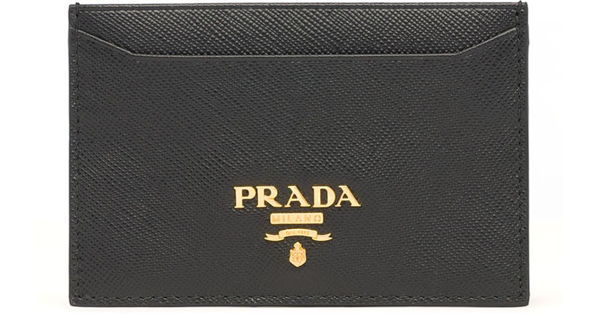 fbf6da2e7c7c Prada Saffiano Card Holder in Black - Lyst