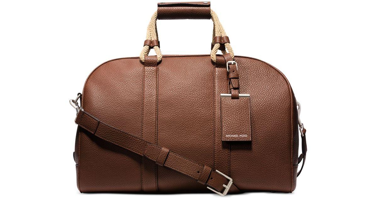 128101755b86 Lyst - Michael Kors Bennett Pebbled-Leather Medium Duffel in Brown for Men