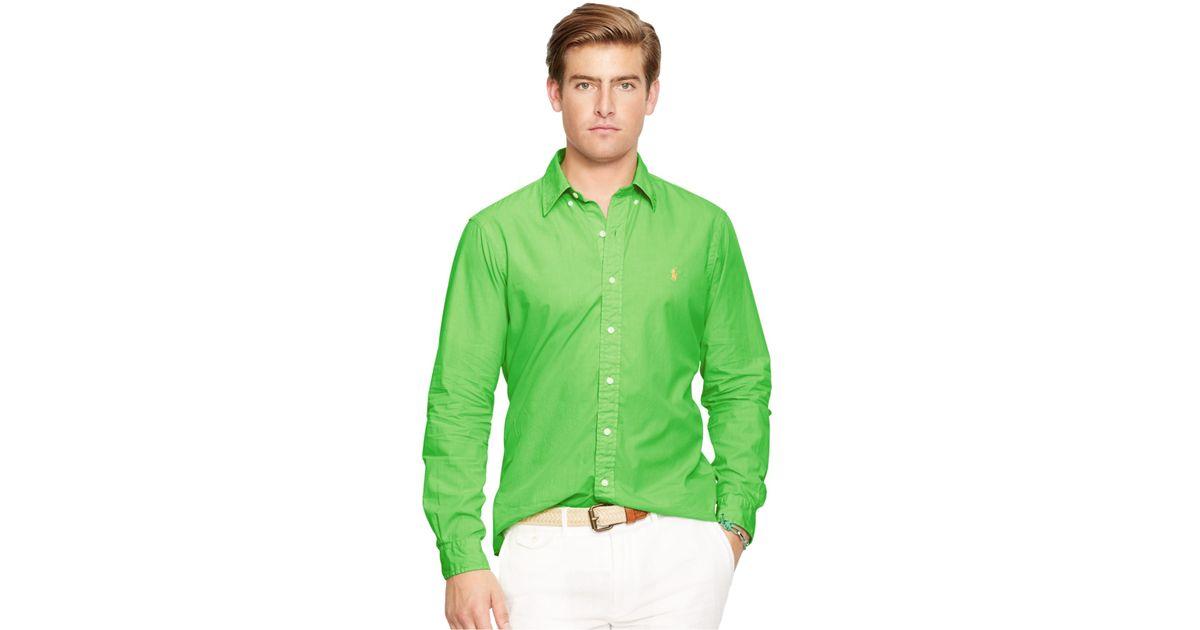 04b1f60d98e ... switzerland lyst polo ralph lauren poplin casual shirt in green for men  209d9 3c411 ...