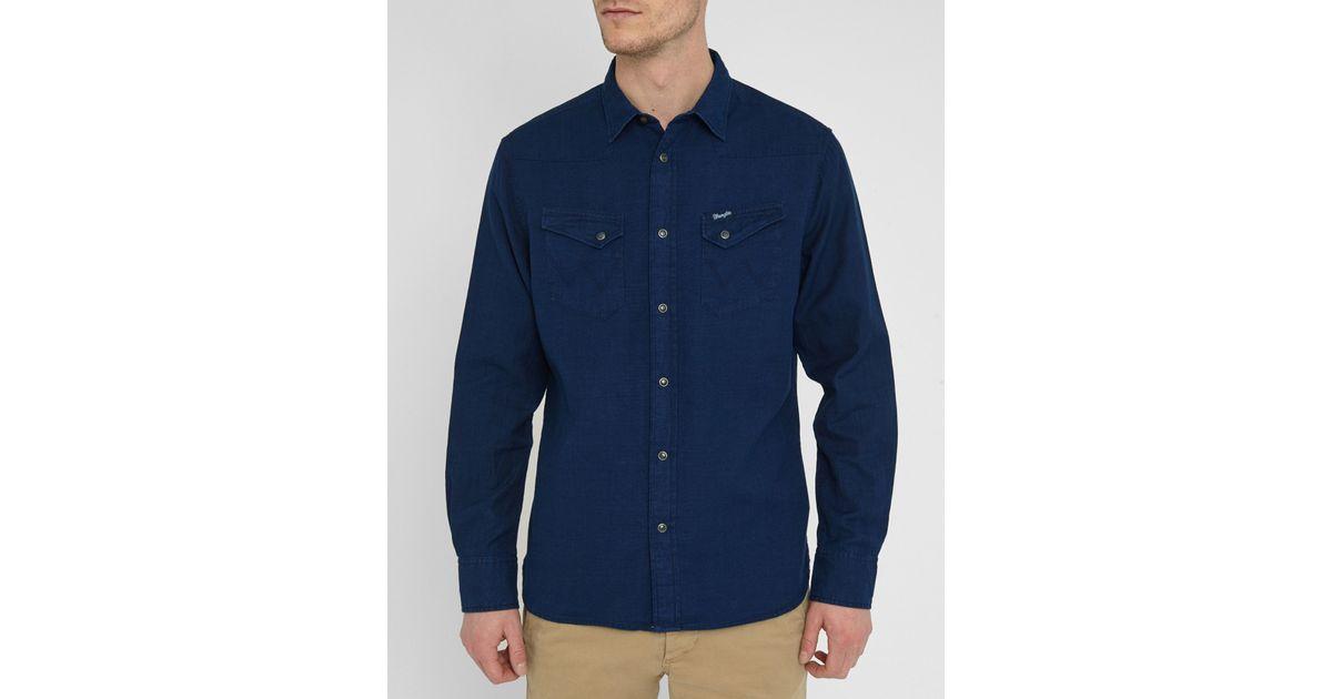 Wrangler faded blue denim western pockets slim fit shirt for Wrangler denim shirts uk