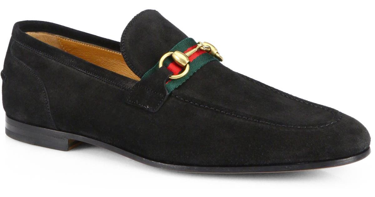 cee1817d3c30 Lyst - Gucci Suede Horsebit Loafers in Black for Men