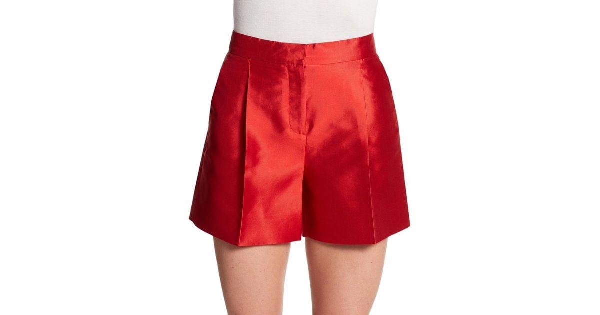 Valentino Silk Wide-leg Shorts in Red | Lyst