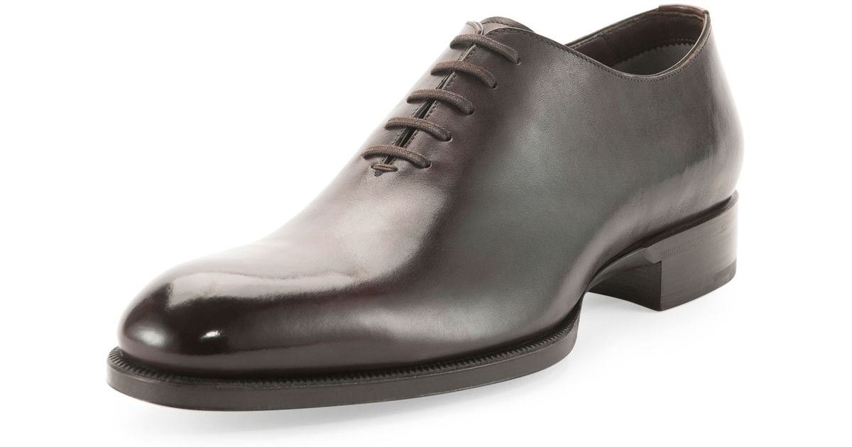 Lyst Tom Ford Edward One Piece Lace Up Tt Leather Shoe In Brown