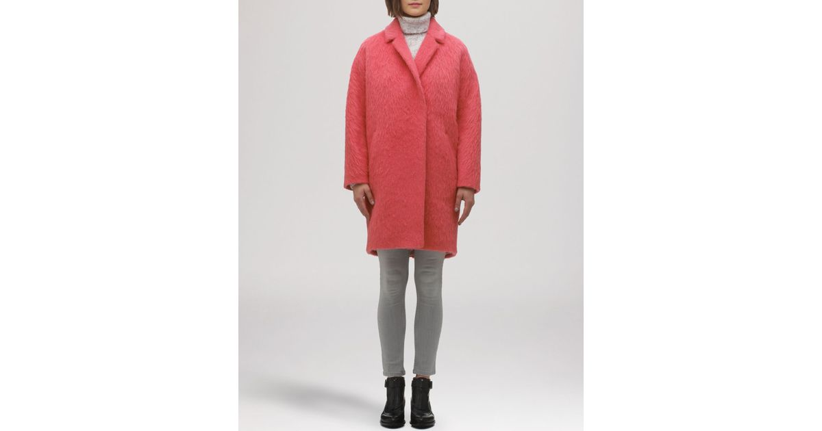 Whistles Coat - Ira Textured Drop Shoulder Cocoon in Pink | Lyst