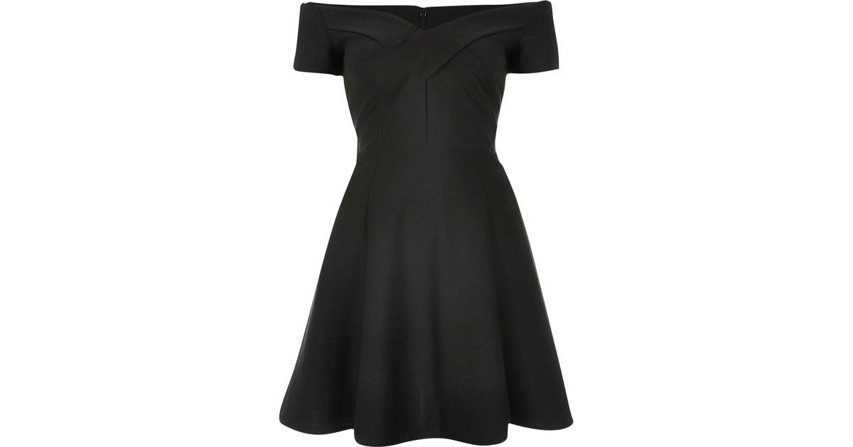 a6ae55398d River Island Black Scuba Bardot Skater Dress in Black - Lyst