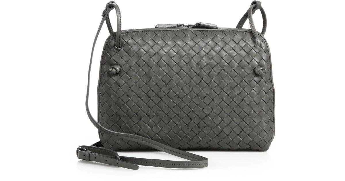 6b9135962c Lyst - Bottega Veneta Small Woven Leather Pillow Bag in Gray